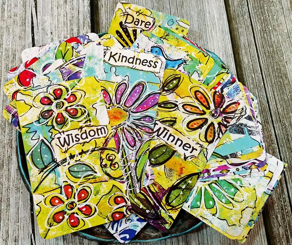 colorful cards with Prompts for Self Care, Creative Fun & Play