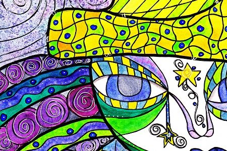 colorful whimsical mixed media art created by kimberly mcguiness