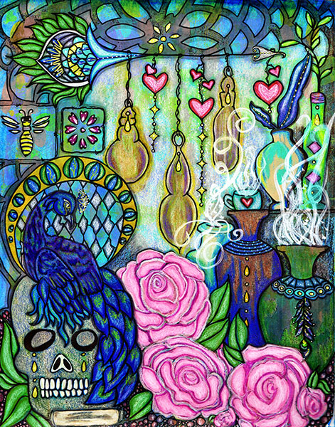 11x14 mixed media on paper displaying a skull, peacock, jars and pink roses created by Kimberly McGuiness