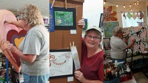artist Kimberly McGuiness working in her studio