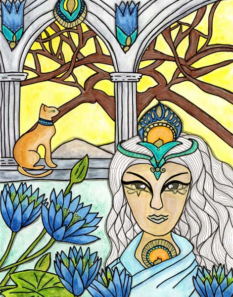 woman with white hair blue flowers around here and a cat sitting on a shelf