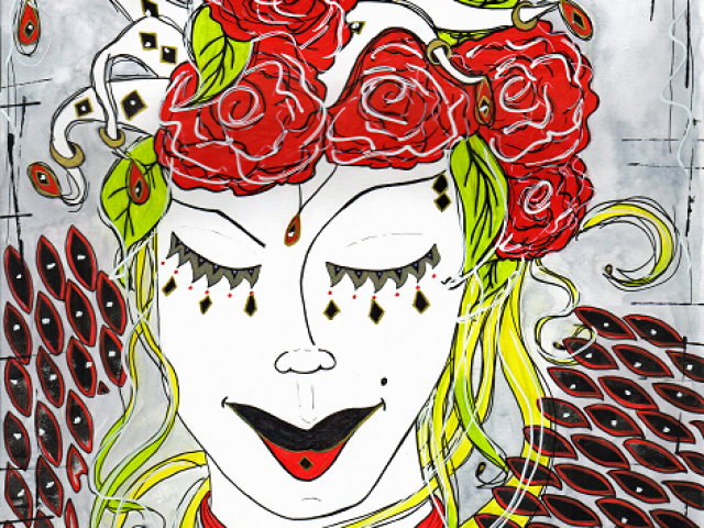harlaqwin style woman with red roses in her hair
