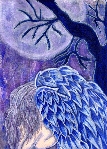 An angel with blue colored wings kneeling with her head down under a tree full moon and tree
