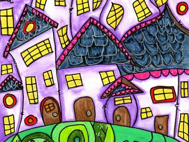 funky houses and trees