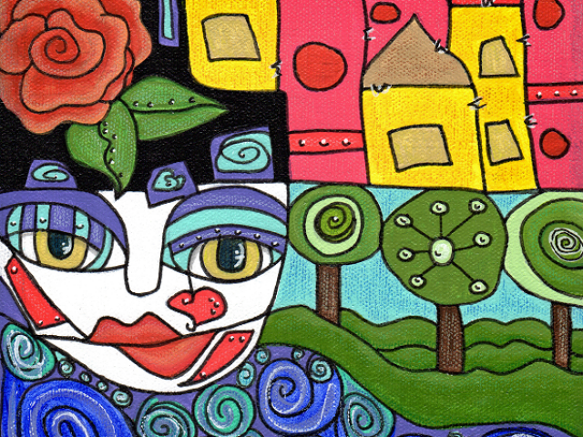 colorful character and houses inpisred by hundertwasser