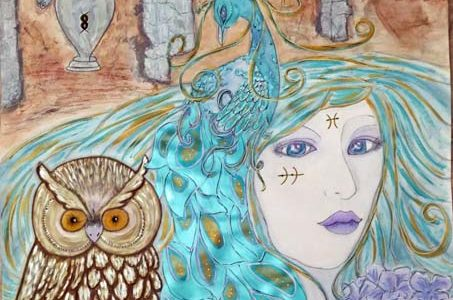 a mixed media piece created by Kimberly McGuiness about renewing and transformation with a peacock, owl and lady with blue hair