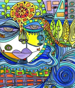 a mixed media piece created by Kimberly McGuiness and inspired by Hundertwasser