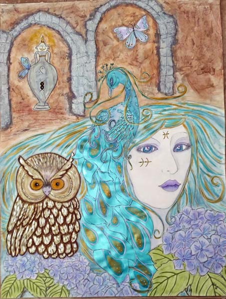 owl, peacock blue flowers and blue haired woman in front of old ruins