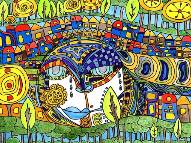 mixed media piece created by Kimberly McGuiness inspired by Hundertwasser