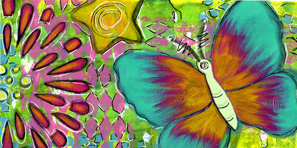a teal butterfly with yellow orange and magenta colored wings with a flower and star