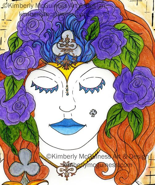 11x14 mixed media on smooth bristol of a woman know as the queen of clubs