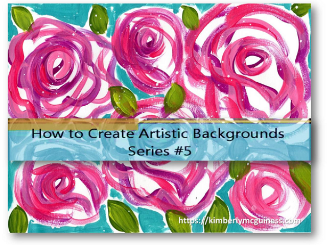 colorful image of a background with pink roses created using paint