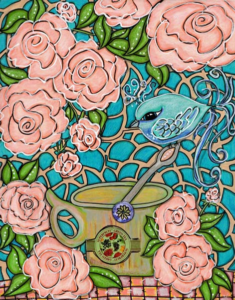 a blur bird sitting on soon handle inside of a tea cup in a garden scene with pink roses