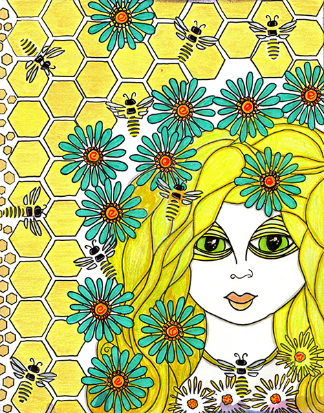 yellow haired woman with blue flowers and bees around her