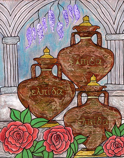 3 old jars standing together with red roses and the word hope on the jars written in greek