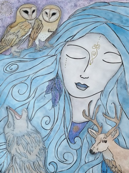 blue haired woman with 2 barn owls, a deer and coyote