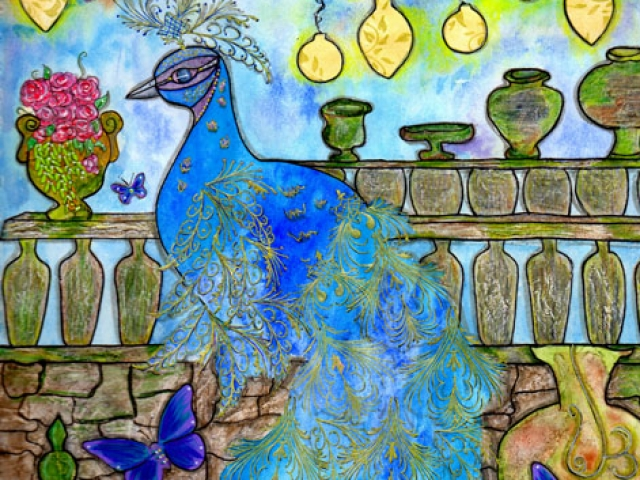 peacock on a stone wall with butterflies, cherry blossom tree with hanging lanterns and pink flowers and old jars