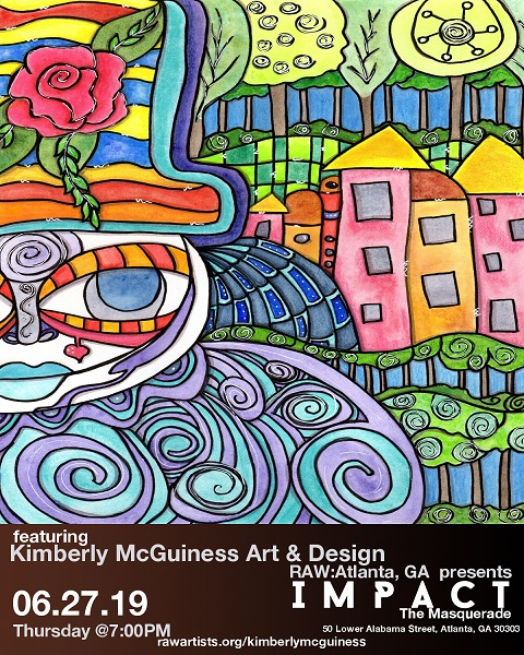 a flyer type ad with a colorful whimsical character for Kimberly McGUiness art Showcase in Atalanta on 6-27-19 @7pm