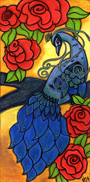 blue peacock on a tree limb with red roses