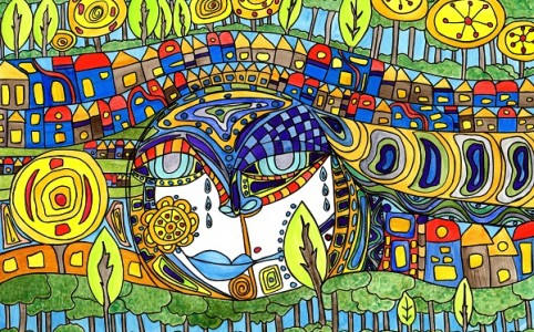 colorful image inspired by Hundertwasser