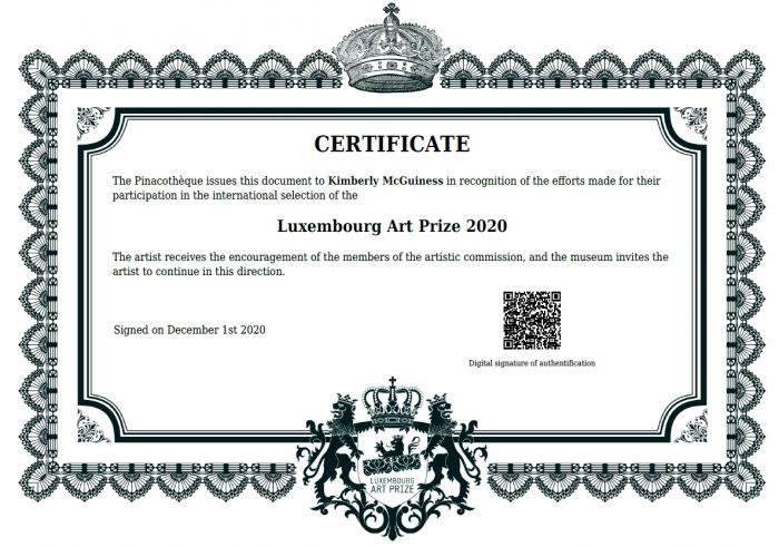 Luxembourg Art Prize 2020 Certificate of Participation
